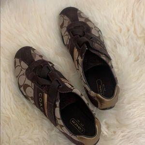 Coach Velcro strap tennis shoes gold/brown